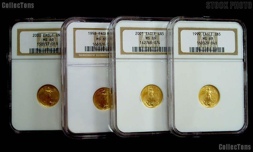 Gold $5 American Eagle 1/10th Ounce in NGC MS 69 Mixed Date