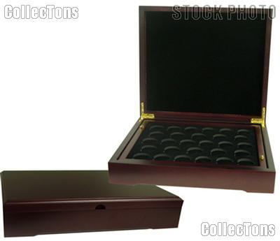 Coin Box for Two Coin Trays Mahogany Wood Coin Display