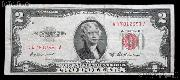 Two Dollar Bill Red Seal Series 1953 US Currency Good or Better