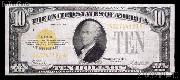 Ten Dollar Bill Gold Certificate Series 1928 US Currency Good or Better