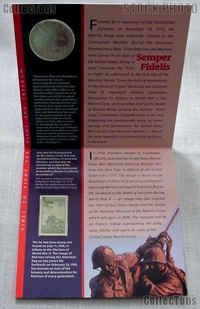 2005 Us Marine Corps Commemorative Silver Coin And Stamp