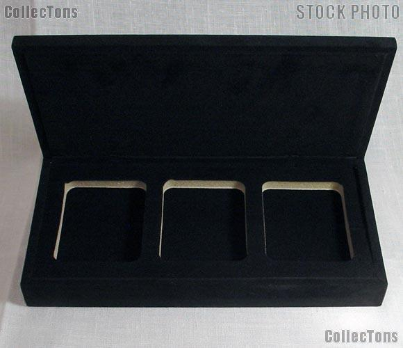 Velvet Coin Display Box for 3 Certified Slab Coins
