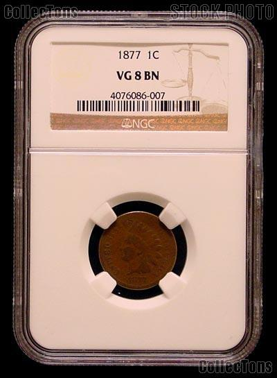 1877 Indian Head Cent KEY DATE in NGC VG 8 BN (Brown)