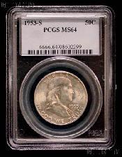 1953-S Franklin Silver Half Dollar in PCGS MS 64