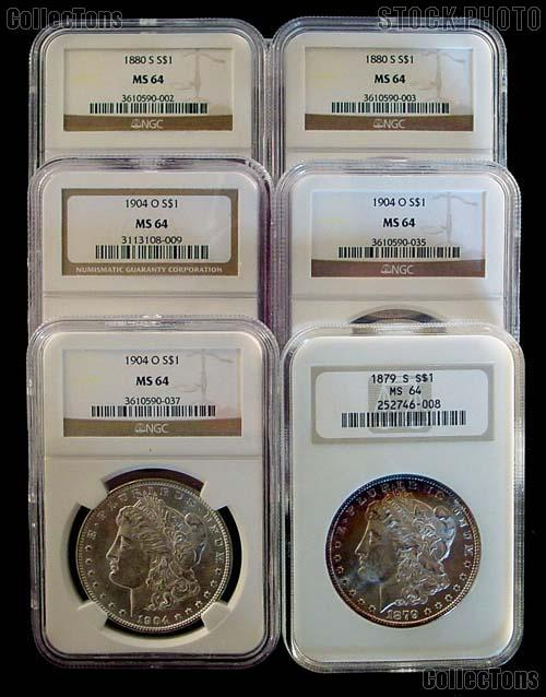 Morgan Silver Dollar 1878-1904 in NGC MS 64 Mixed Dates and Mint Marks