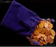 Grab Bag of Wheat Pennies Over 1 Pound in Velvet Bag