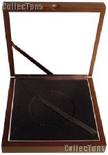 """Wooden Coin Box for 1 Air-Tite """"Z-5"""" Capsule Holder for 5oz America the Beautiful Coins"""