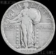 1918-S Standing Liberty Silver Quarter Circulated Coin G 4 or Better