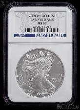 2008-W American Silver Eagle Dollar Burnished EARLY RELEASES in NGC MS 69