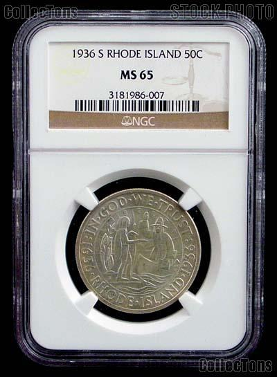 1936-S Providence Rhode Island Tercentenary Silver Commemorative Half Dollar in NGC MS 65