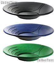 """Set of Three Gold 14"""" Pans Gold Panning Equipment for Prospecting: Black, Blue, & Green"""