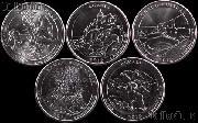 2012 National Park Quarters Complete Set Denver (D) Mint  Uncirculated (5 Coins) PR, NM, ME, HI, AK