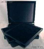 Wooden Coin Display Case (Box) for 24 Certified Slab Coins Matte Black Finish by Lighthouse