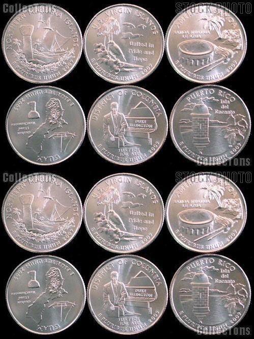 2009 P U.S Uncirculated 6 Coins Territories /& District of Columbia Quarters P Mint