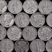 """Survival Coins"" 90% Silver Coins 10 Mercury Silver Dimes"