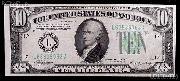 Ten Dollar Bill Green Seal FRN Series 1934 US Currency