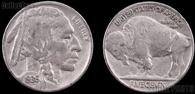 Buffalo Nickel Type 2 FIVE CENTS in Recess (1913 - 1938) 5 Different Coin Lot G+ Condition