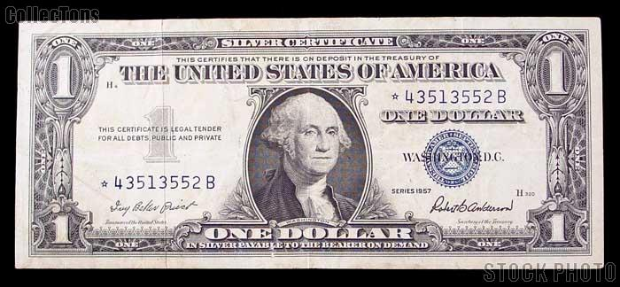 One Dollar Bill Silver Certificate Star Note Series 1957