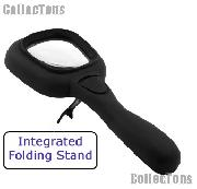 3X Black Light Magnifying Glass 2-IN-1 UV/LED Handheld Magnifier with Built-In Stand