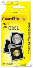 2x2 Coin Holders Box of 10 Guardhouse Tetra Snaplocks for 1 oz GOLD EAGLES