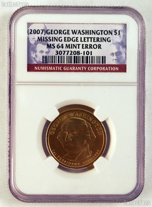 2007 Washington Presidential Dollar Missing Edge Lettering