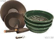 Gold Prospecting Set - 3 Sifters / Classifiers, 2 Gold Pans, Glass Vials, Tweezers, & Trowel