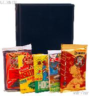 Sports Card Collecting Starter Set / Kit MLB, NFL, NBA, NHL with 6 Sports Card Packs & Album