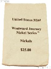 Official US Mint $25 Westward Journey NICKEL Series Canvas Money / Coin Bag