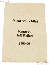 Official US Mint $100 Kennedy HALF DOLLARS Canvas Money / Coin Bag