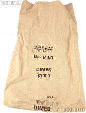 Official US Mint $1000 DIMES Cotton Canvas Money / Coin Bag
