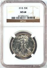 1945 Walking Liberty Silver Half Dollar in NGC MS 64
