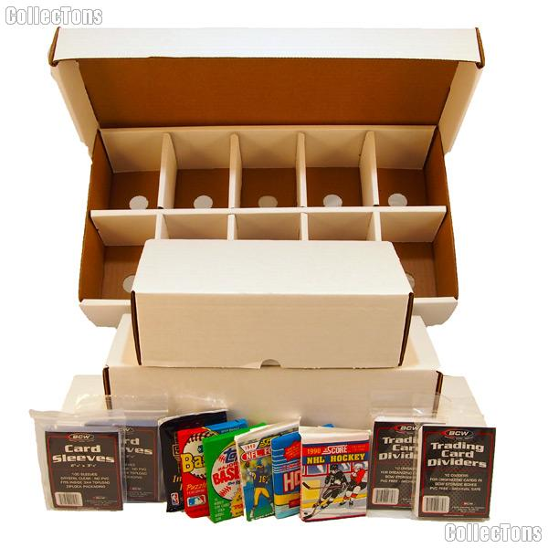 Sports Card Collecting Starter Set / Kit MLB, NFL, NBA, NHL with 36 Different Card Packs, 4 Storage Boxes, Sleeves, & Dividers