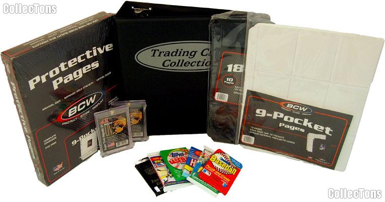 Sports Card Collecting Starter Set / Kit MLB, NFL, NBA, NHL with 18 Different Card Packs, Album, Pages, & Holders