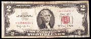 Two Dollar Bill Red Seal Series STAR NOTE 1963 US Currency