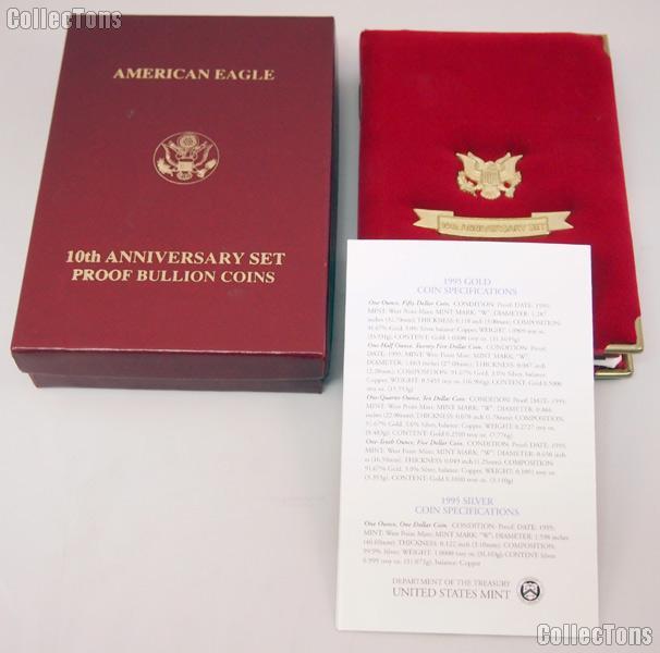 1995 w american eagle 10th anniversary set proof bullion coins