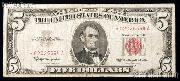 Five Dollar Bill Red Seal STAR NOTE Series 1963 US Currency