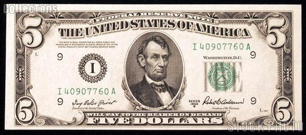 Five Dollar Bill Green Seal Frn Series 1950 Us Currency Cu