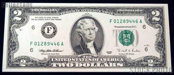 Two Dollar Bill Green Seal Frn Series 1995 Us Currency Cu