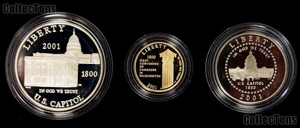 2001 Capitol Visitor Center Commemorative 3 Coin Proof Set