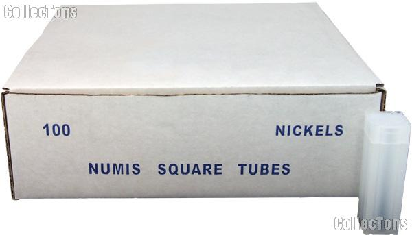 100 Coin Tubes for NICKELS by Numis Square Plastic Coin Tubes for 40 Nickels