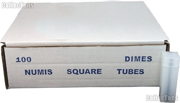 100 Coin Tubes for DIMES by Numis Square Plastic Coin Tubes for 50 Dimes