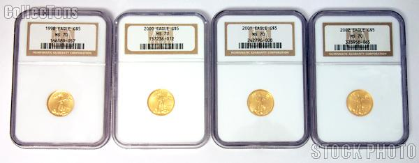 1/10th Oz Gold American Eagle $5 Uncirculated Coin in NGC MS 70 Mixed Dates