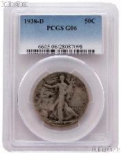 1938-D Walking Liberty Silver Half Dollar KEY DATE in PCGS G 6