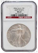 2006 American Silver Eagle Dollar FIRST STRIKES in NGC MS 69