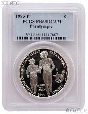 1995-P Atlanta Olympics Paralympics Blind Runner Commemorative Proof Silver Dollar in PCGS PR 69 DCAM