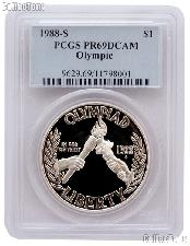 1988-S Seoul Olympiad US Olympic Commemorative Proof Silver Dollar in PCGS PR 69 DCAM
