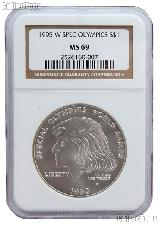 1995-W Special Olympics World Games Commerative Uncirculated Silver Dollar in NGC MS 69