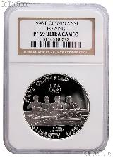 1996-P Atlanta Olympic Games Centennial Rowing Commemorative Proof Silver Dollar in NGC PF 69 Ultra Cameo