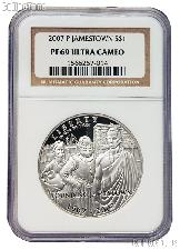 2007-P Jamestown 400th Anniversary Commemorative Proof Silver Dollar in NGC PF 69 Ultra Cameo