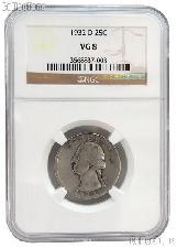 1932-D Washington Silver Quarter KEY DATE in NGC VG 8